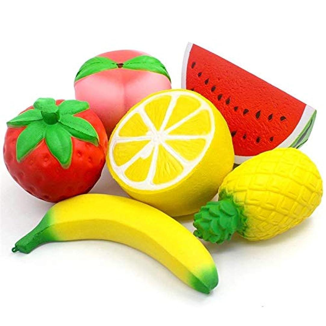 終了する慢アプトジョークおもちゃ Squishies、6PCSソフトストロベリーフワフワ、フルーツシミュレーション食品モデルのクリーミー香りがゆっくり解凍のためのスクイズおもちゃライジング