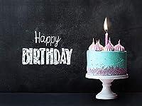 バースデー お誕生日 背景布 バック 簡単 フォトスポット 黒板ケーキ ≪かんたんフォトブース Marshmallow Baby オリジナル ≫ (ブラック×ホワイト,M(約150×200cm))[478539445]