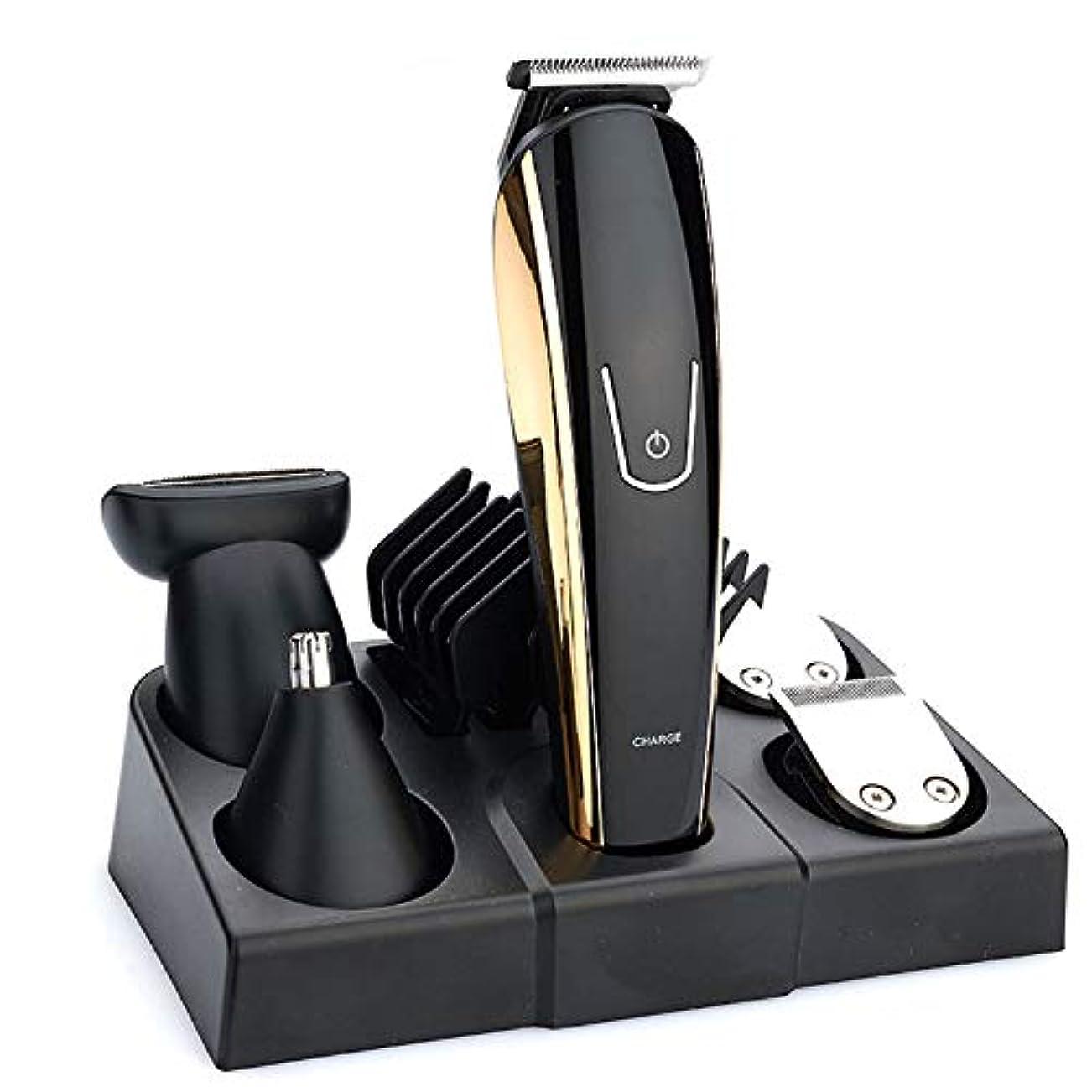 人に関する限り聴覚再発するバリカン5で1 10ワットusb充電式ヘアトリマープロフェッショナルバリカン男性電気ひげトリマー散髪機
