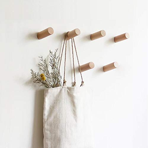 HomeDo木製フック おしゃれ ウォールフック 壁掛けフック 洋服掛け ウォールハンガー 帽子掛け 帽子収納 装飾壁掛けフック タオルハンガー 4個セット (ブナ, 6cm)