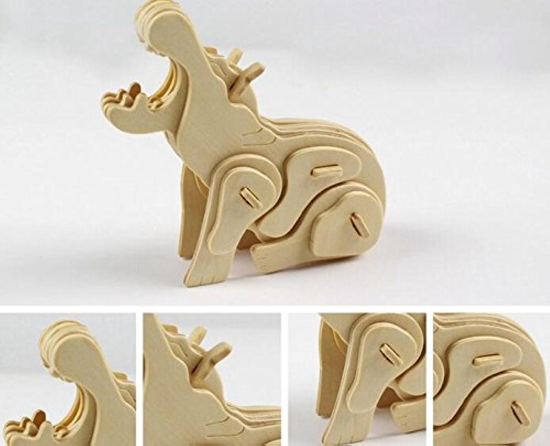HuaQingPiJu-JP 創造的な木製の3Dパズルアーリーラーニング動物玩具子供のための素晴らしいギフト(カバ)