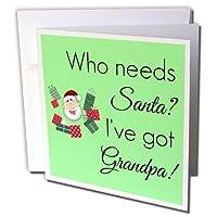 BrooklynMemeクリスマス–Who NeedsサンタWhen Ive GotおじいちゃんとサンタCartoon–グリーティングカード Individual Greeting Card