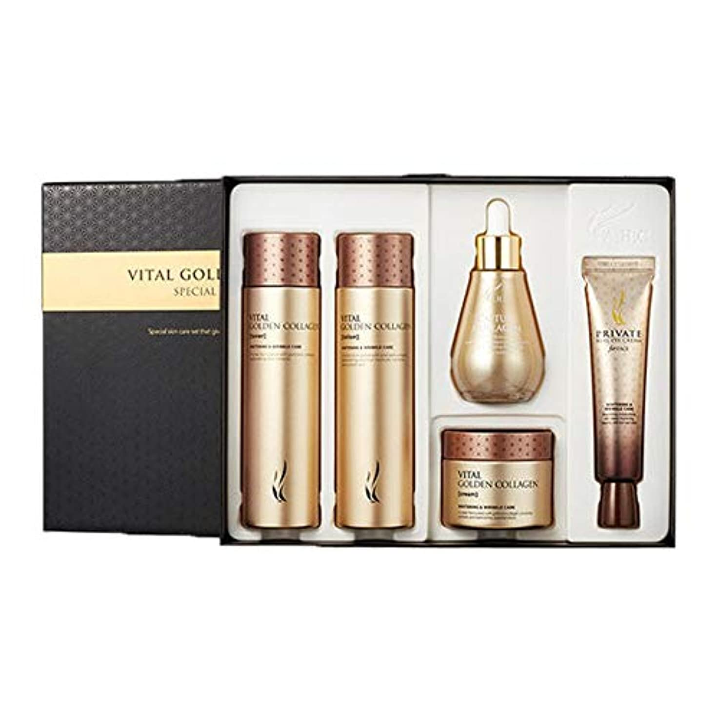 ガイドラインリゾートシリングAHCバイタルゴールデンコラーゲンスキンケアセットトナーローションクリームアイクリームアンプル、AHC Vital Golden Collagen Skincare Set Toner Lotion Cream Eye...