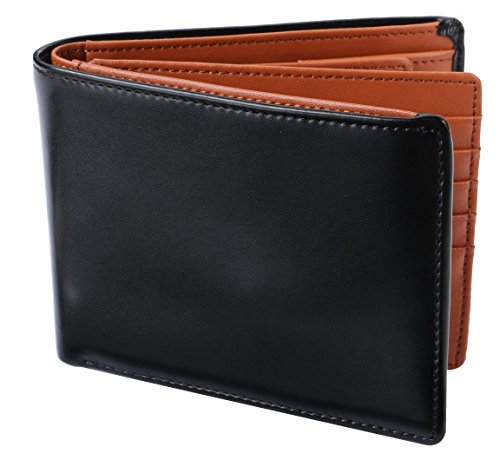 [Legare(レガーレ)] 二つ折り財布 カード15枚収納 BOX型小銭入れ レザー メンズ ブラック×ブラウン