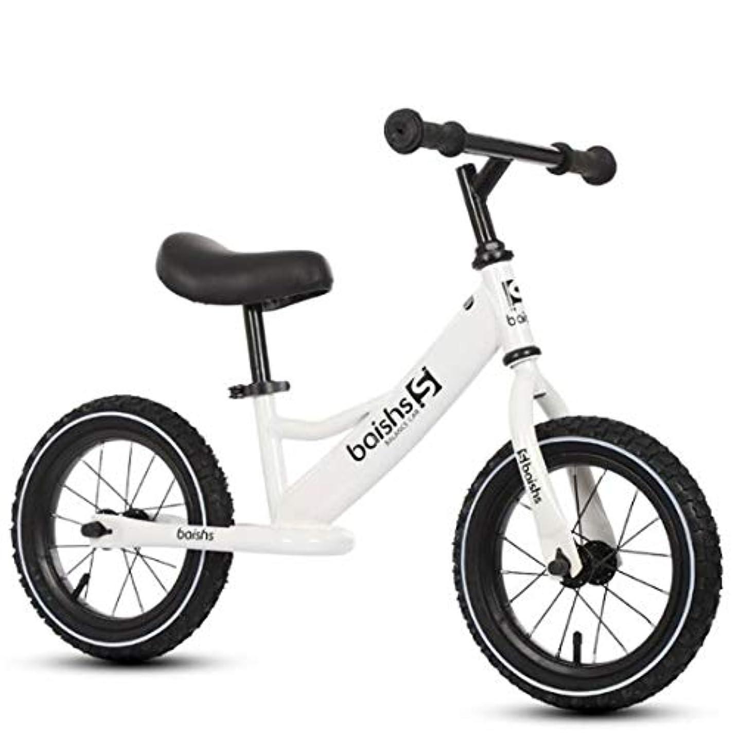 複雑でないしなやか面積ペダルなし自転車 バランスバイク バランスバイク、12インチ幼児ストライダーバイク、子供たちは自転車を押して、調節可能なスチールノーペダル自転車、2-4歳用 (Color : White)