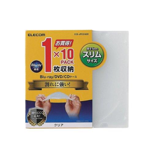 エレコム DVD BD CDケース プラケース スリム 1枚収納 10枚パック クリア CCD-JPCS10CR