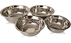Checkered Chef Stainless Steel Metal Mixing Bowl Set, 4 Metal Prep Bowls. Dishwasher Safe.