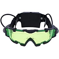 LIOOBO Protective Goggles Safety Green Glasses Adjustable Kids Night Goggles Eyewear Spy Night Vision Goggle for Racing Bicycling