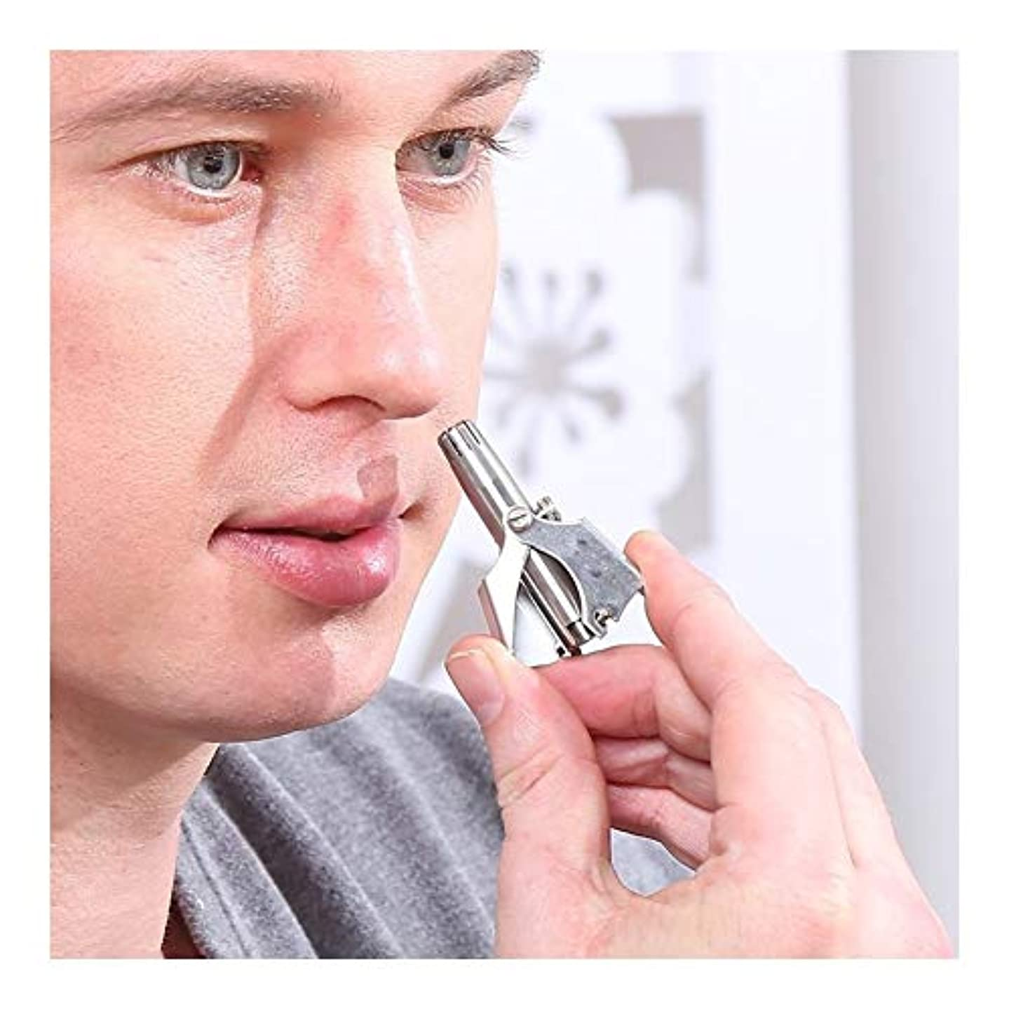 曲げる収束パトロール手動鼻耳毛トリマーステンレス鋼鼻毛リムーバー作品バッテリーなし男性女性