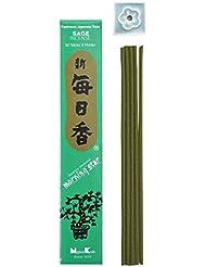 Morning Star Japanese Incense Sticks Sage 50 Sticks &ホルダー'
