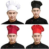 PRETYZOOM 4 Pcs Chef Cap Professional Adjustable Baker Kitchen Cooking Chef Cap Working Hat for Women Men (Random Color)