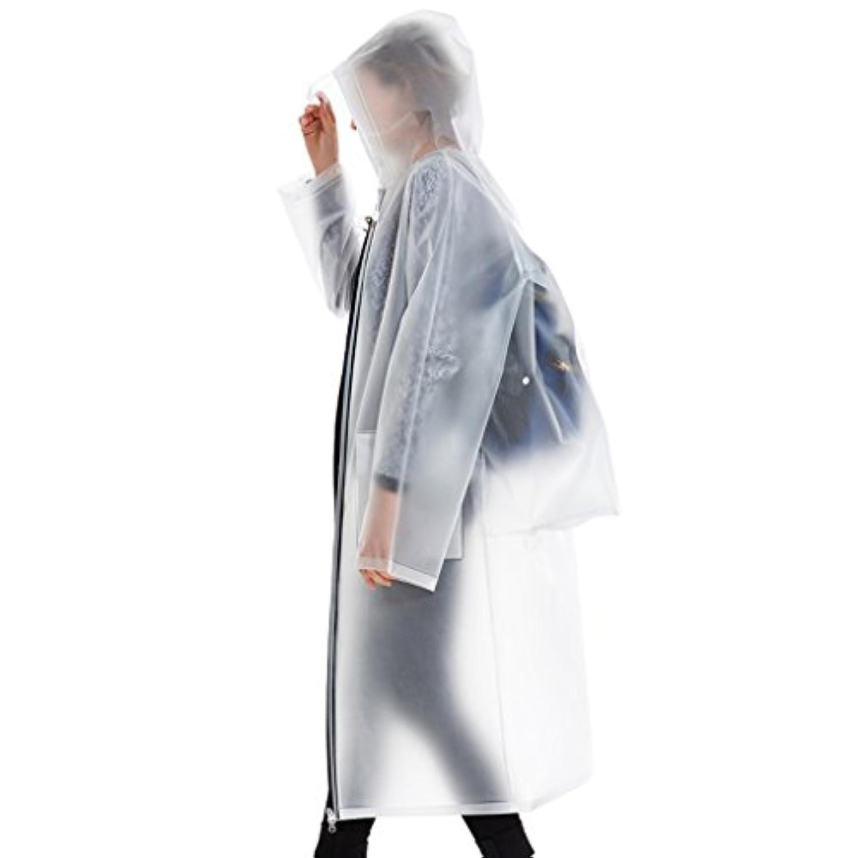 LT バックパックレインコートアウトドアハイキングポンチョ防水ジッパーポケット (色 : 白, サイズ さいず : XL)