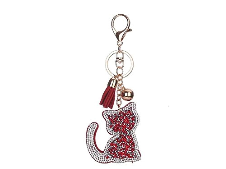 FenBuGu-JP 興味深い 女性の猫ラインストーンタッセルキーホルダーカーアクセサリーバックパックペンダント(レッド)