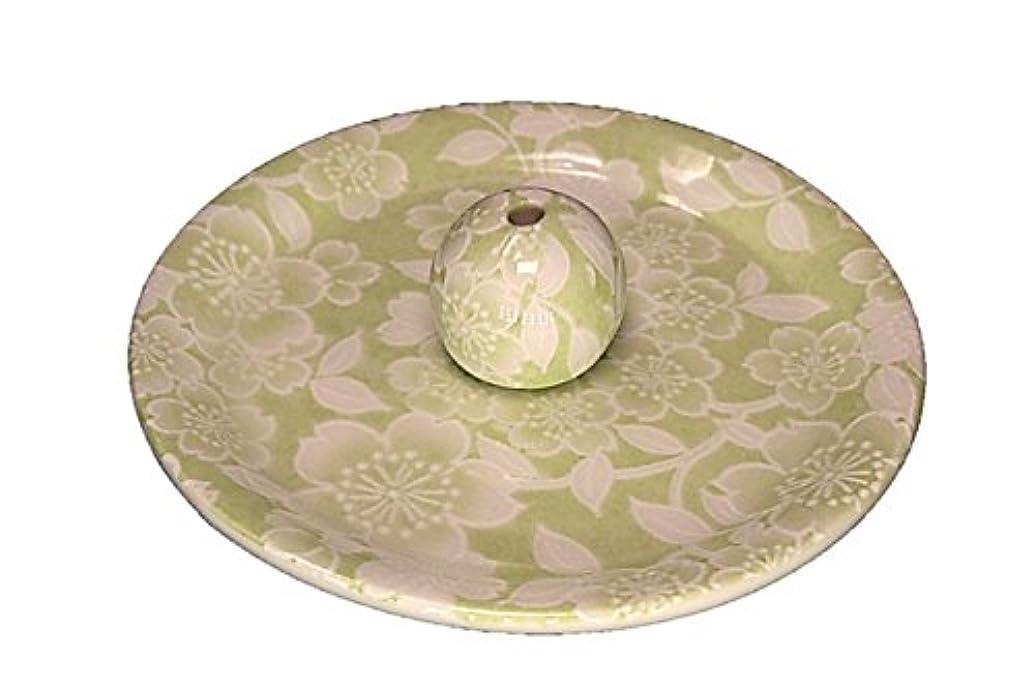 同僚余分な驚いたことに9-37 桜友禅 緑 9cm香皿 お香立て お香たて 陶器 日本製 製造?直売品