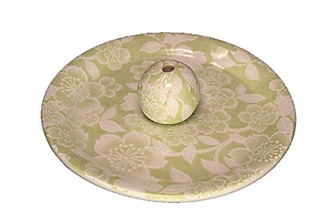 ハンマー雑種手がかり9-37 桜友禅 緑 9cm香皿 お香立て お香たて 陶器 日本製 製造?直売品