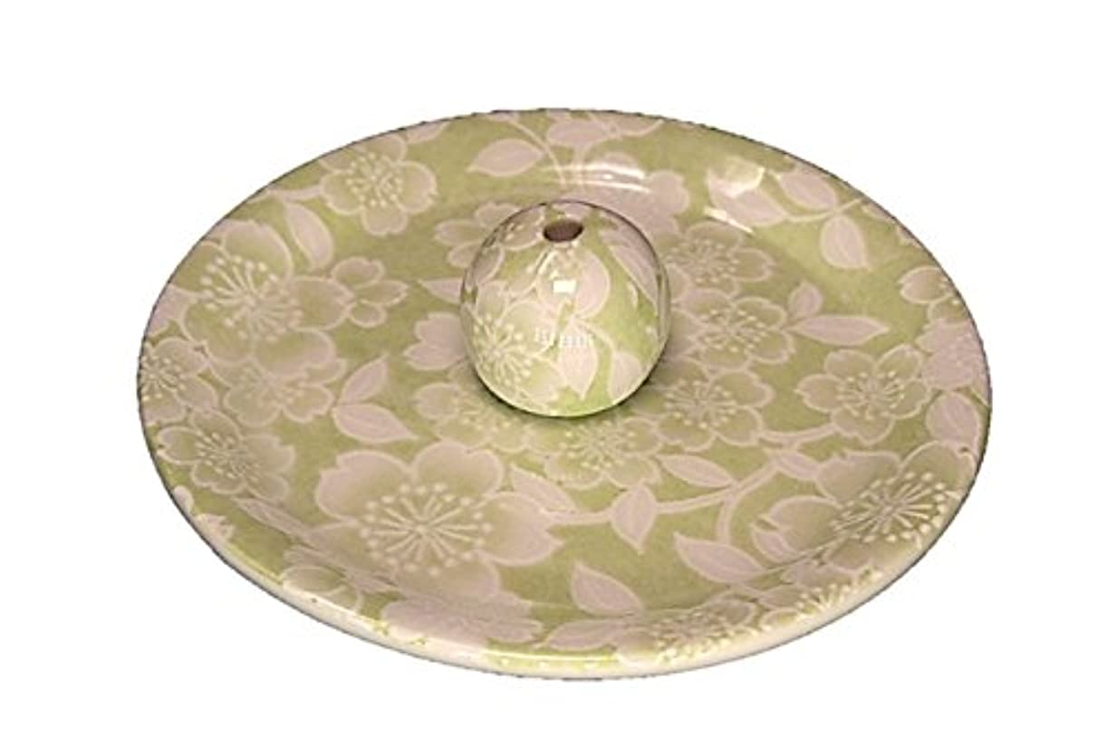 お興味チーフ9-37 桜友禅 緑 9cm香皿 お香立て お香たて 陶器 日本製 製造?直売品