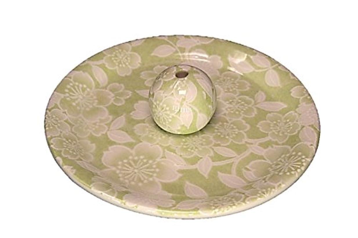所得スピーカー方法論9-37 桜友禅 緑 9cm香皿 お香立て お香たて 陶器 日本製 製造?直売品