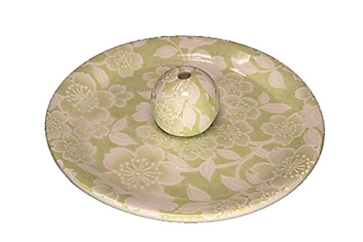 中毒結婚した悪意のある9-37 桜友禅 緑 9cm香皿 お香立て お香たて 陶器 日本製 製造?直売品