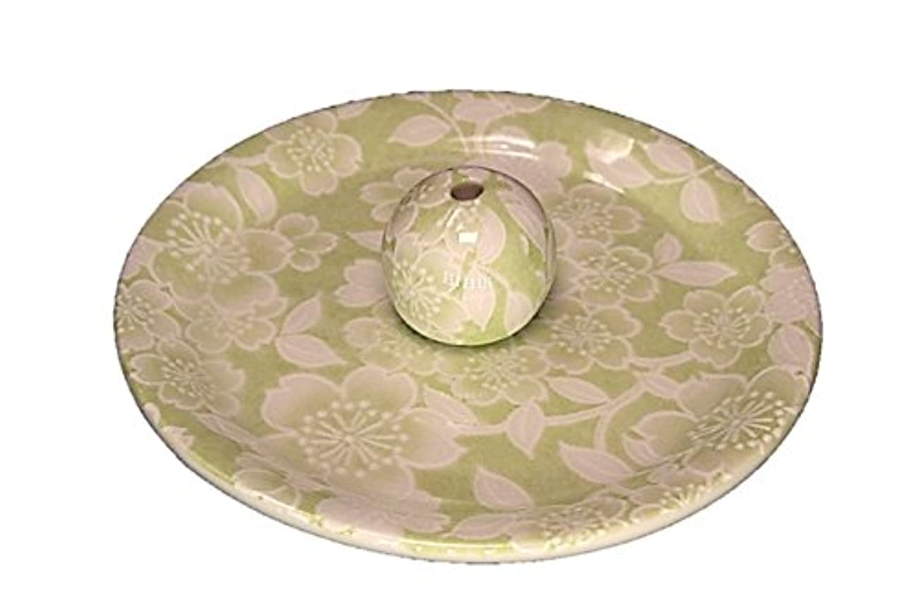 トラフィック教太字9-37 桜友禅 緑 9cm香皿 お香立て お香たて 陶器 日本製 製造?直売品