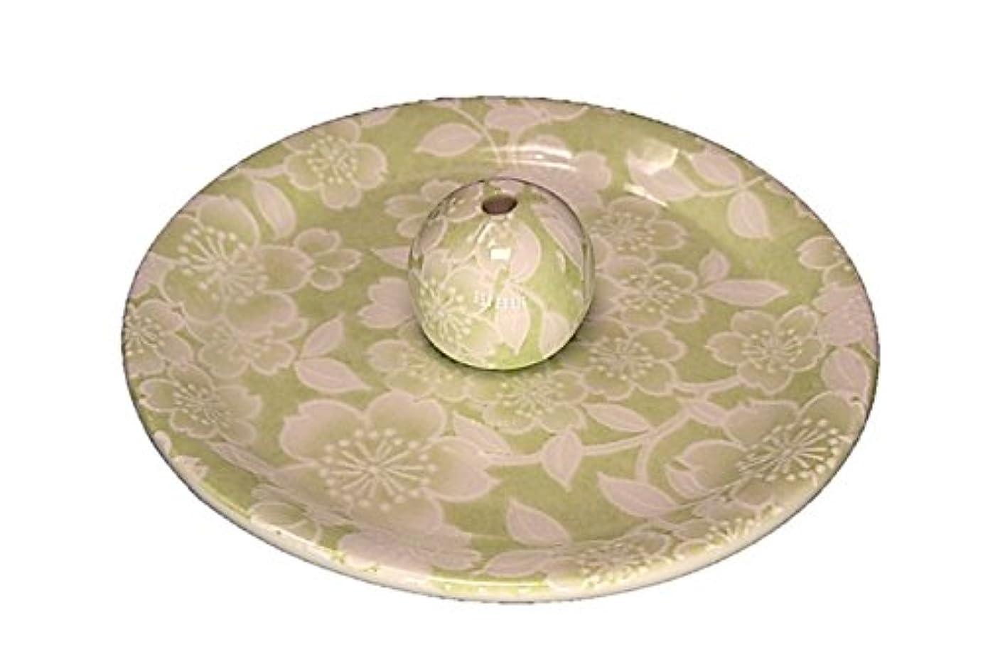 滅多手数料起こる9-37 桜友禅 緑 9cm香皿 お香立て お香たて 陶器 日本製 製造?直売品