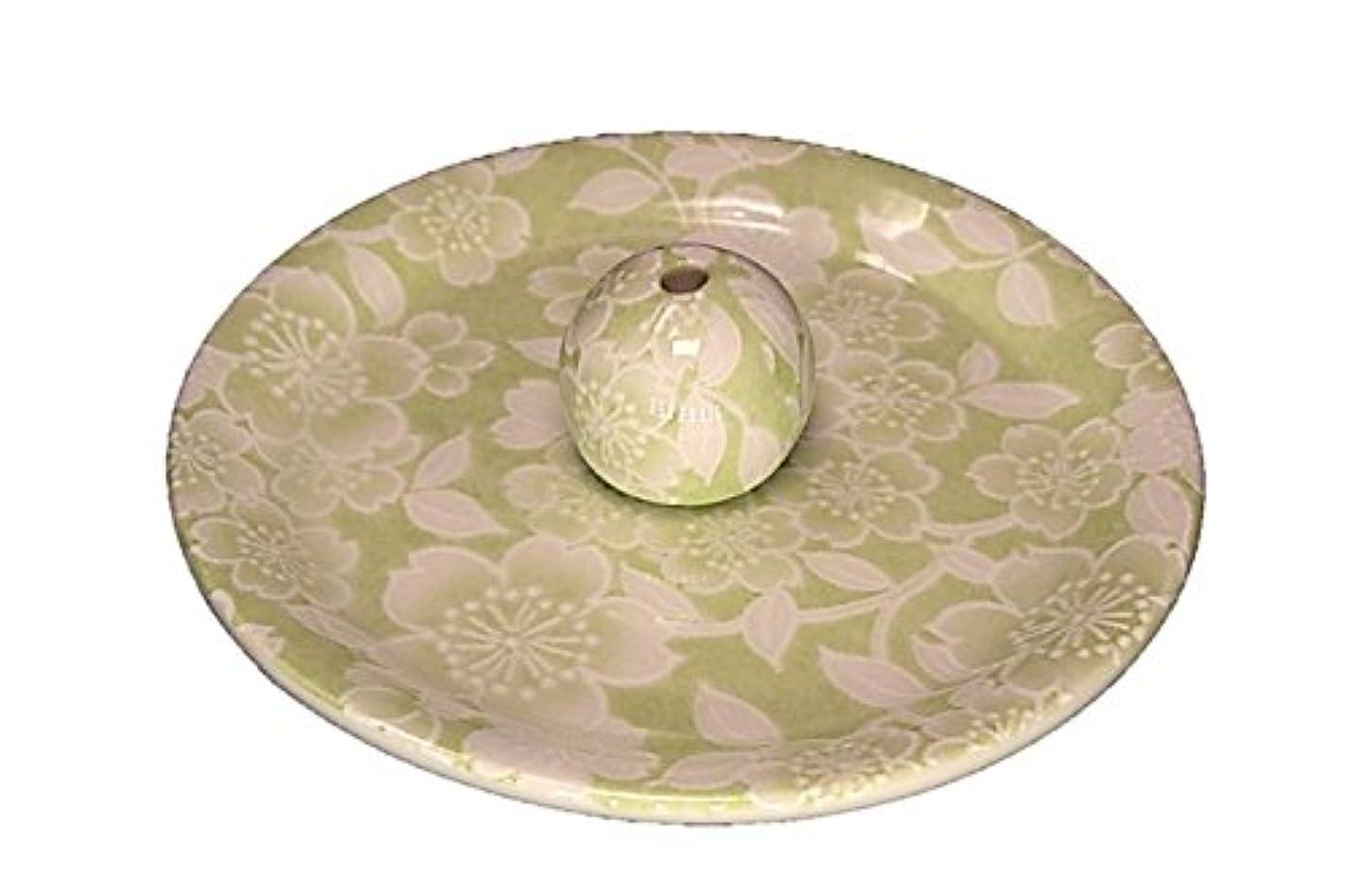 生き返らせる設計図傀儡9-37 桜友禅 緑 9cm香皿 お香立て お香たて 陶器 日本製 製造?直売品