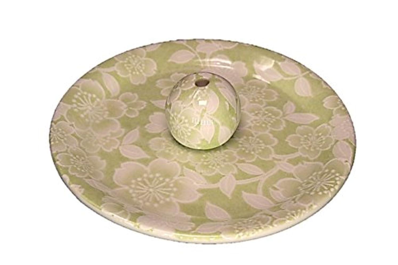 弾力性のある分数ロール9-37 桜友禅 緑 9cm香皿 お香立て お香たて 陶器 日本製 製造?直売品