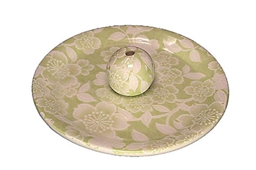 なんとなくサイドボード標高9-37 桜友禅 緑 9cm香皿 お香立て お香たて 陶器 日本製 製造?直売品