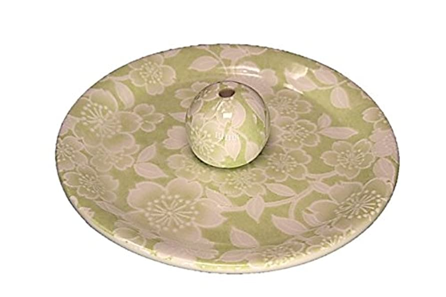 逸話胃スプリット9-37 桜友禅 緑 9cm香皿 お香立て お香たて 陶器 日本製 製造?直売品