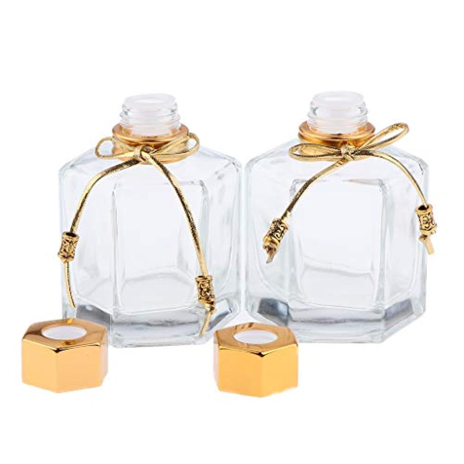 チャンピオンシップオンス忠実に香水瓶 ガラス 香水ボトル オイル エッセンシャルオイル ボトル 拡散器 2色選べ - ゴールデン
