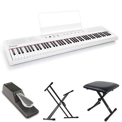 Alesis 88鍵盤 初心者向け電子ピアノ フルサイズ・セミウェイト鍵盤 Recital ホワイト【アマゾン限定】フットペダル・キーボードスタンド・ピアノ椅子セット