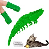 SOSPIRO Cat Catnip Toy Cat ToothbrushChew Toy Interactive Cat ToysShrimp ShapePet Toy for Kitten Kitty Teeth Cleaning, Come with Finger Toothbrush