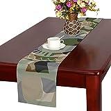 GGSXD テーブルランナー 面白い グリーン猫 クロス 食卓カバー 麻綿製 欧米 おしゃれ 16 Inch X 72 Inch (40cm X 182cm) キッチン ダイニング ホーム デコレーション モダン リビング 洗える