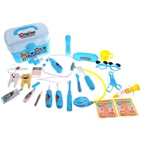 monkeyjackごっこ医者Dentist CarryケースキットRole Playing Setキッズ子供おもちゃギフトブルー