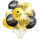 Amosfun 12インチ卒業ローズゴールドスパンコール紙吹雪卒業おめでとう手紙風船パーティー用品風船の装飾15ピース