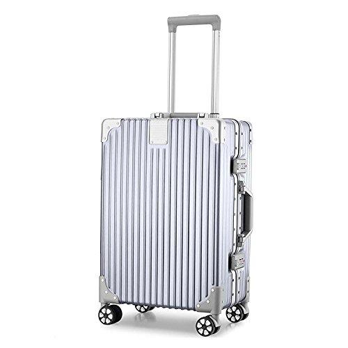 (アザブロ) AZBRO スーツケース キャリーケース TSAロック 半鏡面 アルミフレーム レトロ 旅行 出張 静音 超軽量