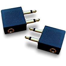 Gold Plated Airplane Flight Headphone Adapters (Pack of 2) | Allows You to use Your Earphones with All in-Flight Media Systems | This Airline Plane Headset Converter Enables Great Sound on All Planes