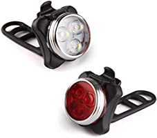 USB Rechargeable Bike Lights, Bicycle Front Headlight & Rear Taillight Light Set, Super Bright LED 650mah Lithium...