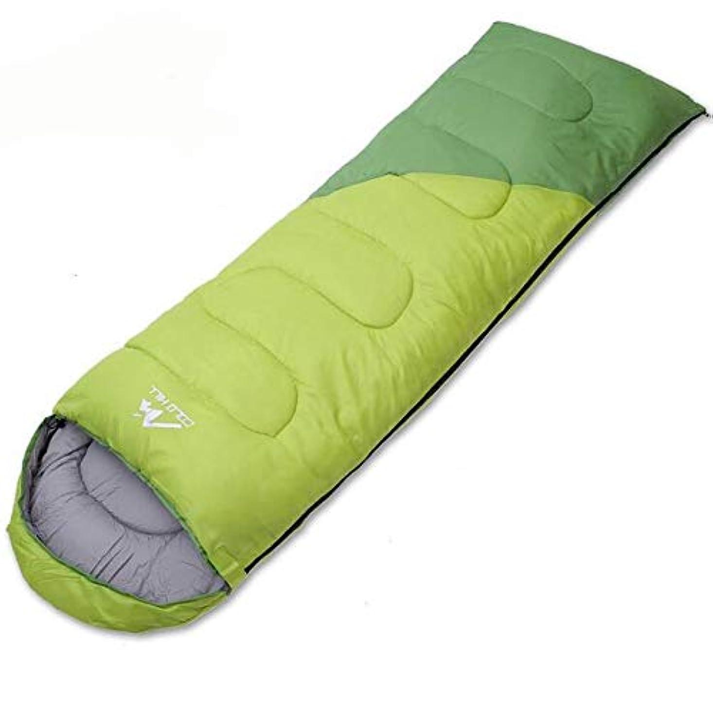行進光沢のある大CXUNKK 男性と女性の屋外の大人はステッチ封筒タイプ四季普遍的な寝袋汚い旅行昼休み屋内寝袋をすることができます (Color : Green, Size : 1.1KG)