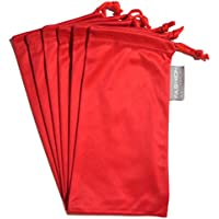 6 PC Eyewear Eyeglass Microfiber Soft Cleaning Cloth Bag Pouch Case RED