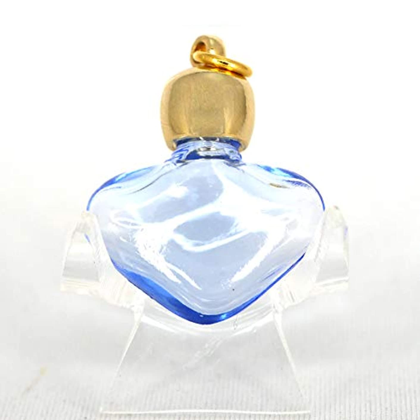 色ピルファー部分的にミニ香水瓶 アロマペンダントトップ ハートブルー(透明青)0.8ml?ゴールド?穴あきキャップ、パッキン付属【アロマオイル?メモリーオイル入れにオススメ】