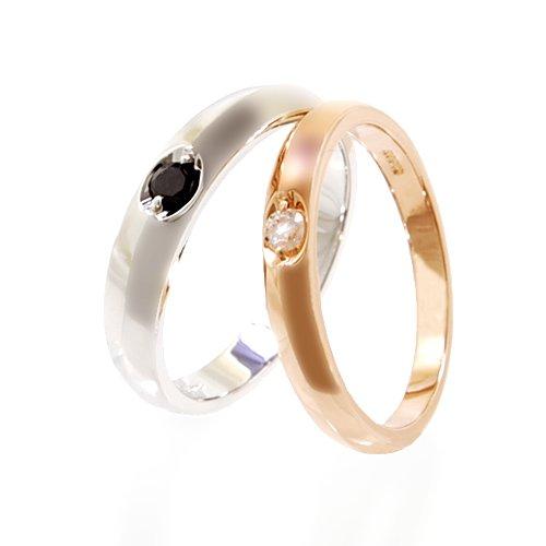 ソリティアペアリング 指輪/pair ring/ケース付き 【メンズ4mm ホワイトダイヤモンド プラチナカラー13号】【レディース3mm ホワイトダイヤモンド ピンクゴールドタイプ10号】
