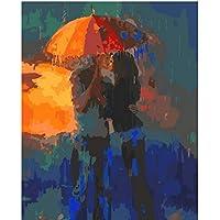デジタル絵画を描く 雨のための家の装飾キャンバスの愛の絵の油絵デジタル壁の装飾DIYの絵画40x50cm(16x20in)フレームレス