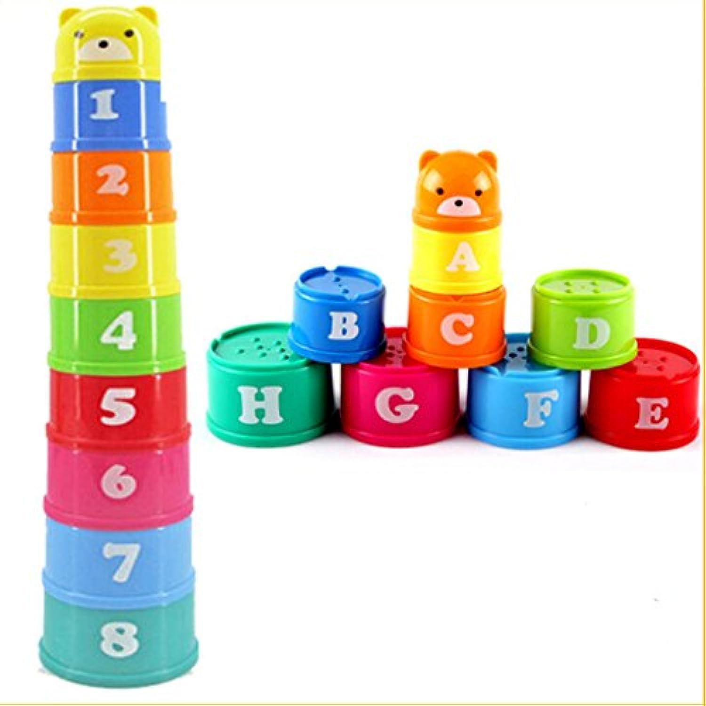 【ノーブランド品】プラスチック スタッキング アップカップ 虹 子供 教育玩具