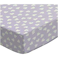 SheetWorld Fitted Sheet (Fits BabyBjorn Travel Crib Light) - Hearts Pastel Lavender Woven - Made In USA by sheetworld