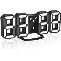 LEDデジタル時計 3Dデザイン アラーム機能付き 置き時計 壁掛け時計 明るさ調整 日本語取扱説明書付き デジタル時計