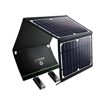 RAVPower ソーラーチャージャー ソーラー充電器 16W USB 2ポート 折りたたみ iPhone/Android各種対応 アウトドア 防災 RP-PC008