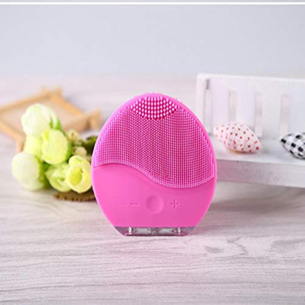 眠り専門化する戦闘シリコーンフェイシャルクレンザー、フェイシャルクレンジングブラシ防水シリコーンフェイスマッサージャーアンチエイジングスキンクレンジングシステムすべての肌タイプのためのフェイシャルポリッシュとスクラブ (Color : Pink)