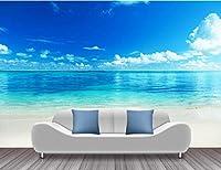 Lcymt 海ビーチ写真の壁紙青空白い雲壁壁画ステッカーリビングルームの壁紙3Dビニールシルクの壁紙-400X280Cm