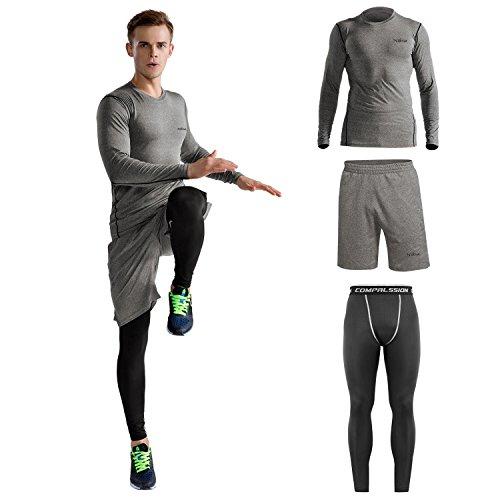 Niksa コンプレッションウェア メンズ スポーツウェア スポーツシャツ 長袖/半袖 ラウンドネック 吸汗速乾 3点セット (M グレー)