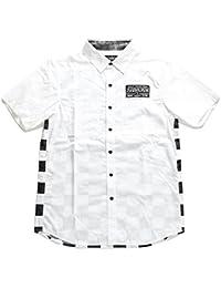 【Z16UC01】 ゼファレン Zephyren 半袖シャツ かっこいい チェッカーフラッグ ブロックチェック柄 刺繍 切替 アメカジ 大きいサイズ 正規品 白